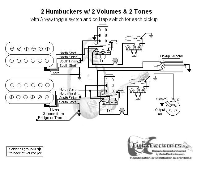 2 hbs 3 way toggle 2 vol 2 tones individual coil taps. Black Bedroom Furniture Sets. Home Design Ideas