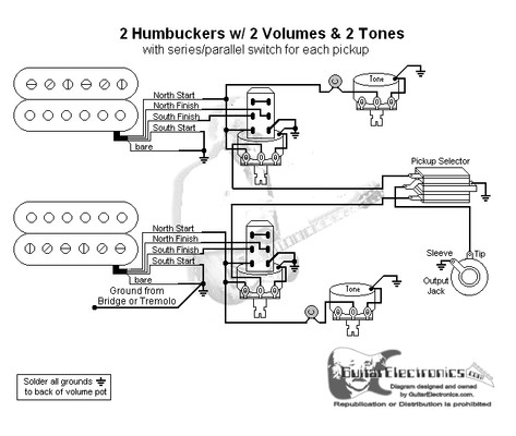 2 humbuckers 3 way toggle switch 2volumes 2 tones series. Black Bedroom Furniture Sets. Home Design Ideas