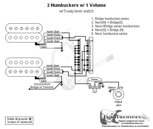 2 humbuckers 5 way lever switch 1 volume 05. Black Bedroom Furniture Sets. Home Design Ideas