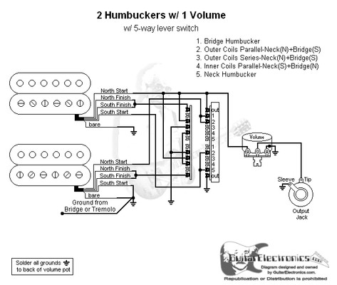 2 humbuckers/5-way lever switch/1 volume/06 4 wire light wiring diagram