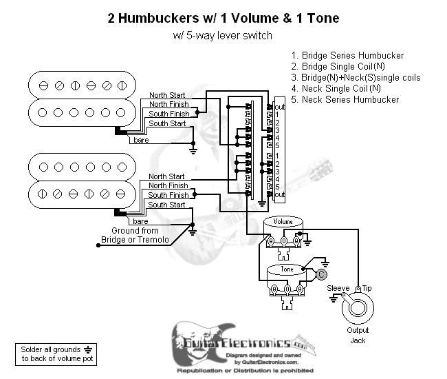 2 humbuckers 5 way lever switch 1 volume 1 tone 01. Black Bedroom Furniture Sets. Home Design Ideas