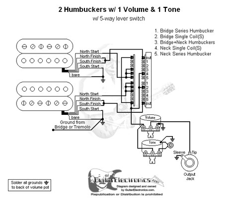 2 humbuckers  5 way lever switch  1 volume  1 tone  02