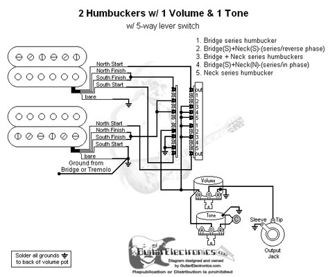 Humbuckers 5 Way Lever Switch 1 Volume 1 Tone 03 Guitar Pickup Wiring One Volume One 3-Way Switch 2 Humbuckers 1 Volume Wiring-Diagram Guitar 2Wire Pickup Wiring Diagrams At IT-Energia.com