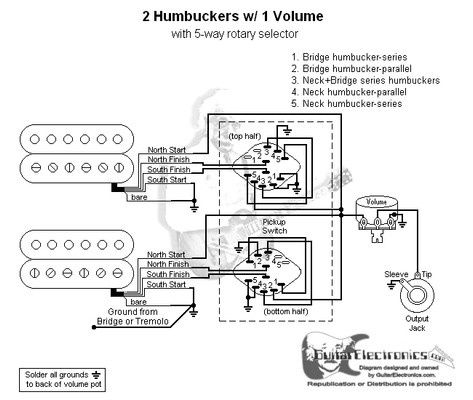 2 humbuckers  5 way rotary switch  1 volume  04