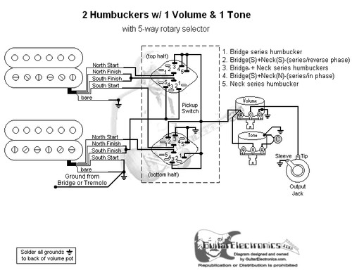 Rotary Switch Wiring Diagram Guitar : Humbuckers way rotary switch volume tone
