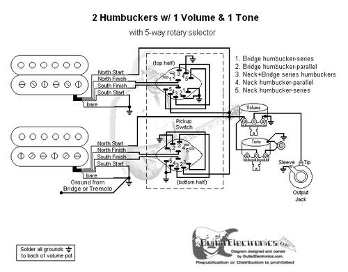 2 Humbuckers 5 Way Rotary Switch 1 Volume 1 Tone 04