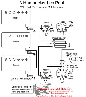 3 Humbucker Wiring Diagrams on wiring diagram 2 humbuckers volume tone