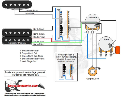 Humbucker single coil way switch volume tone