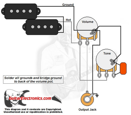 p bass style wiring diagram rh guitarelectronics com fender p bass wiring harness fender precision bass electronics