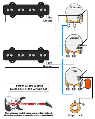 jazz bass style wiring diagram rh guitarelectronics com fender jazz bass pickup wiring diagram bartolini jazz bass pickup wiring