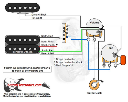 1 humbucker  1 single coil  3 1 volume  1