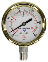 Gold Glycerin Filled Compound Gauge - Bottom Mount