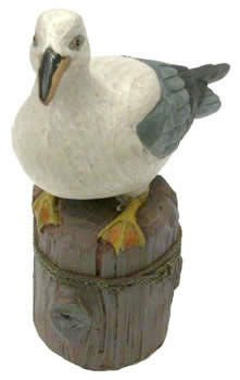Coastal Sea Gull On Pier Post front View  Nautical Seasons