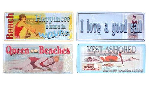 Retro Style Beach Tin Signs Nautical Seasons
