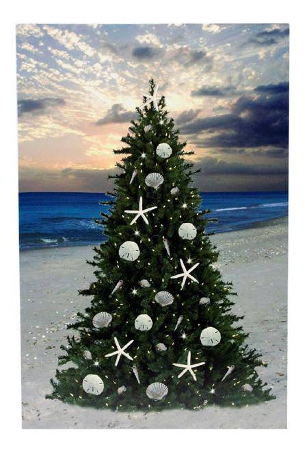 Led Canvas Christmas Tree On The Beach Wall Art 15290
