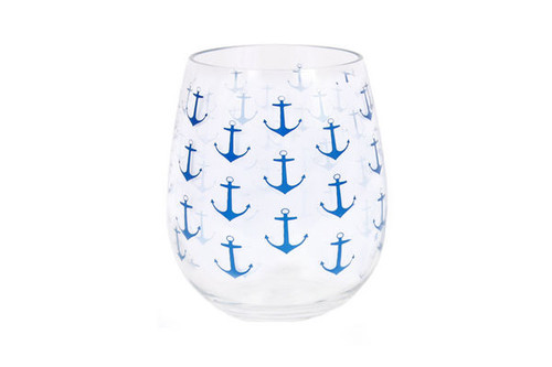 acrylic navy anchor print wine glass 20oz nautical seasons - Plastic Stemless Wine Glasses