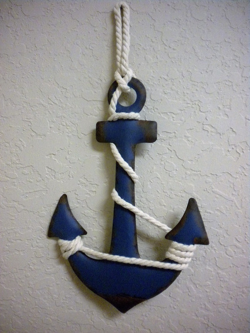 Metal Wall Anchors distressed blue metal wall anchor #16142 sale priced - nautical