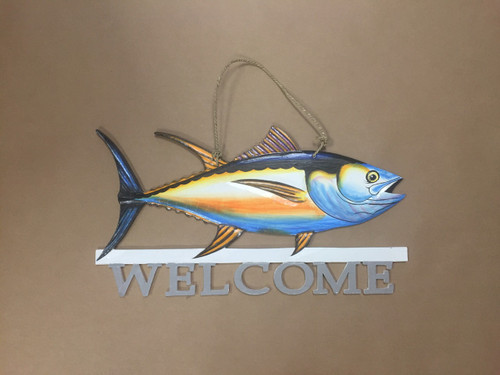 Blue Tuna Fish Welcome Sign  Nautical Seasons