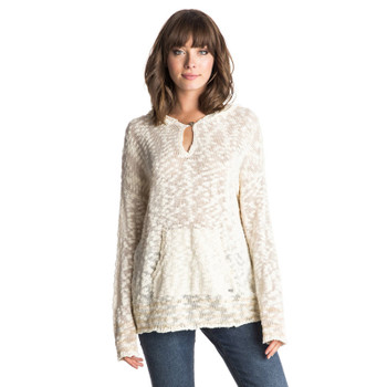 Roxy Border Field Hooded Sweater - Sand Piper