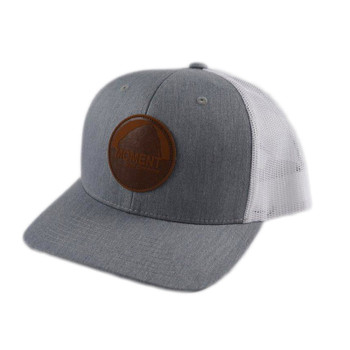 Moment Dark Leather Patch Rock Hat - Charcoal / White