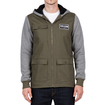 Volcom Battalion Lined Zip Hoodie - Military
