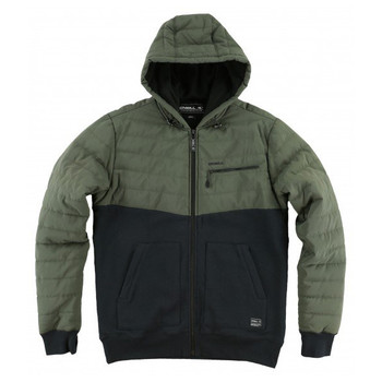 O'Neill Superfleece Quadra Quilted Hooded Zip Up - Olive Green