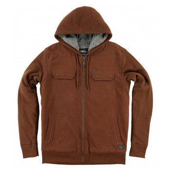 O'Neill Shortrib Sherpa Hooded Zip Up - Rust Brown