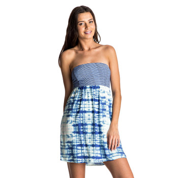 Roxy Crystal Light Strapless Dress - Marshmallow Antares Tie Dye