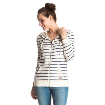 Roxy Signature Stripe Zip Hoodie - Marshmallow Signature