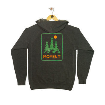 Moment Trees And Waves Zip Hoodie - Charcoal - Back