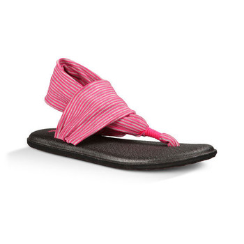 Sanuk Yoga Sling Girls Youth Sandal - Fuchsia / Purple Stripes