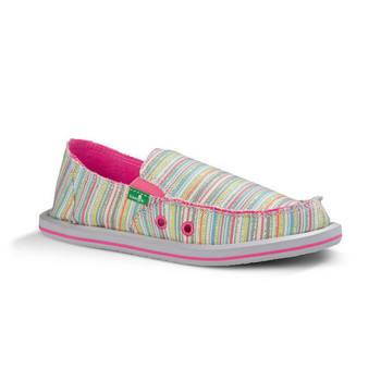 Sanuk Donna Girls Kids Sidewalk Surfers - Aqua / Pink Stripe