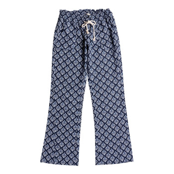 Roxy Oceanside Beach Pants - Dress Blue Peacock Leaves