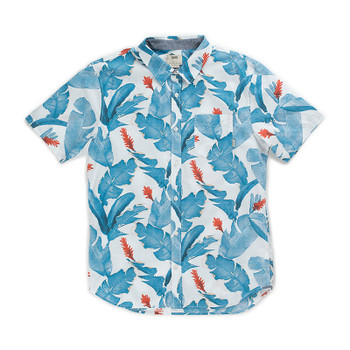 Vans Bonsai Short Sleeve Button Up - White Bonsai Leaf