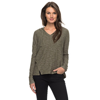Roxy Wanted and Wild L/S Hooded Top - Dusty Olive