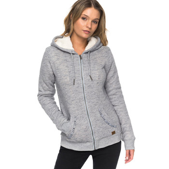 Roxy Trippin Sherpa Zip Hoodie - Dress Blues Heather