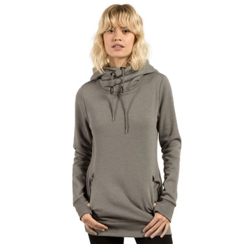 Volcom Walk On By High Neck Hoodie - Charcoal