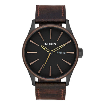 Nixon Sentry Leather Watch - All Black / Brown / Brass
