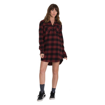 Element Teddy Flannel Dress - Stable Brown