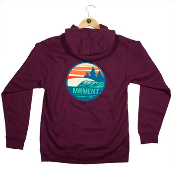 Moment Sunset Waves Zip Hoodie - Maroon - Back