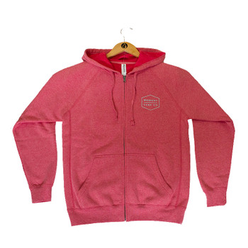 Moment Boxed Logo Zip Hoodie - Pomegranate