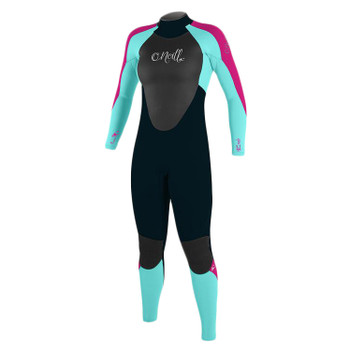 O'Neill Youth Girls Epic 4/3 Wetsuit -Navy / Tahiti Blue / Light Grapefruit