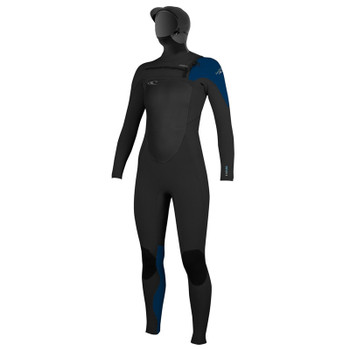 O'Neill Women's Superfreak 5/4 Hooded Wetsuit - Black/Deepsea/Spyglass