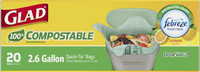 Glad 100% Compostable OdorShield Quick-Tie Small Trash Bags, Lemon Scent, 2.6 Gallon, 20 Count