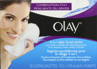 If you have oily or combination skin, you need more than a basic cleanser to eliminate impurities and clean your skin right down to the pores. Olay 4-in-1 Daily Facial Cloths for combination/oily skin contain the cleansing power of a liquid cleanser, toner, mask or scrub all in one. Dermatologist-tested, these facial cloths cleanse, exfoliate, tone and hydrate to provide a deep cleaning that gives you smoother-looking skin in just one week!Each soap-free cloth contains an essential cleansing formula with pro-vitamin B5, beta hydroxy acid and soothing witch hazel. They have two sides: a smooth side and a textured side with over 3,000 microbeads to gently break up dirt, oil and make-up even mascara. Just wet with water, rub to lather and flip between the smooth and beaded sides for gentle cleansing and all-over exfoliation. Taking care of your skin doesn't need to be complicated. Olay keeps it simple with 4-in-1 Daily Facial Cloths for combination/oily skin so you can wipe away make-up, dirt and impurities in one simple step.