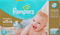Pampers Cruisers Ultra Diapers, Size 3, Economy Pack - 124 Count