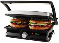 2-Slice Capacity; 1,200W; Works As A Standard Panini Maker Or Flat Grill; Non-Stick Coating; Floating Hinge System Adjusts for Variable Sandwich Thicknesses; Opens Up To 180-Degree for Grilling ; Adjustable Temperature Control Knob; Power and Ready Light Indicator; Cord Wrap; Stainless Steel Housing.
