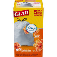40 count box of 13 gallon tall kitchen trash bags in Hawaiian Aloha scent.Packaging and drawstring color may vary.     40 count box of 13 gallon tall kitchen trash bags in Hawaiian Aloha scent. Packaging and drawstring color may vary.     OdorShield technology with Febreze Freshness neutralizes odors and freshens with a floral scent     Reinforcing bands add strength while reducing plastic waste     Drawstring makes garbage bags easy to close, carry and toss out     Great for kitchen trash and throughout the house