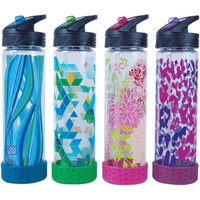 Stay hydrated in style with the Cool Gear 22-oz Straightwall Tritan Flash Cap Water Bottle with Straw. It features a non-skid base and flash cap. Cool Gear 22-oz Straightwall Tritan Flash Cap Water Bottle with Straw, 4-Pack: Stay hydrated in style Non-skid base Flash cap