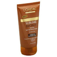 Loreal Body Expertise Sublime Bronze Self-Tanning Lotion, Tinted, Medium Natural Tan Streak-free. Instant bronze glow, won't rub off. Quick-dry. Vitamin E. L'Oreal Paris creates Sublime Bronze Tinted Self-Tanning Lotion. An advanced skin-smoothing formula with AHAs (with AHA derivative) + vitamin E for a smooth, streak-free perfect tan. New transfer-proof and water resistant formula gives an instant bronze tan that won't rub off or stain clothes as your natural sunless tan develops. Results: Instant bronze tint for subtle color that won't rub off on your clothes. Soft, smooth, 100% natural-looking sunless tan develops in less than an hour.